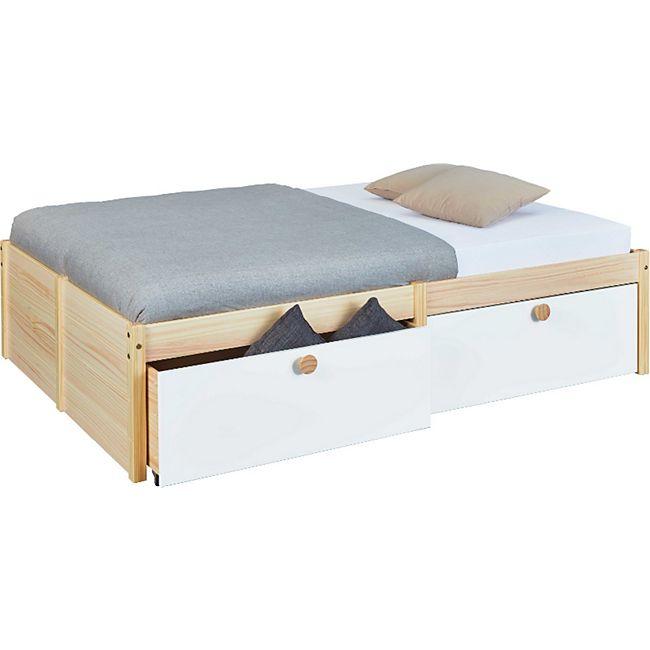 Bett Wise 140x200 cm weiss Bettgestell Ehebett Schlafzimmer Jugend Doppelbett - Bild 1