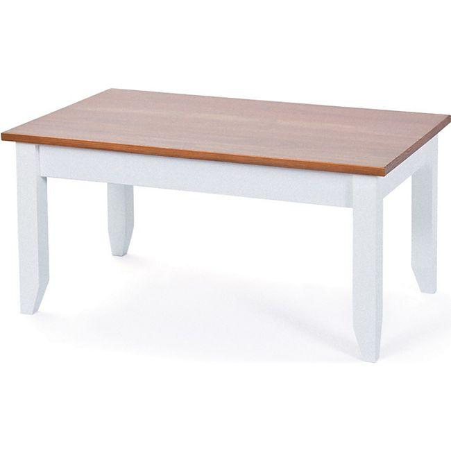 Couchtisch Wright weiss braun Wohnzimmer Tisch Beistelltisch Kaffeetisch Ablage - Bild 1