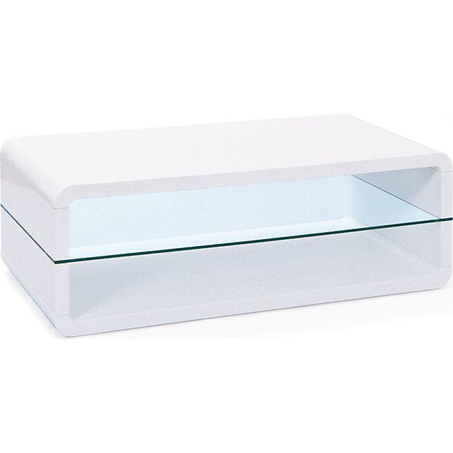 Couchtisch Xira Glasablage weiss Hochglanz Sofa Beistelltisch Wohnzimmer Tisch - Bild 1