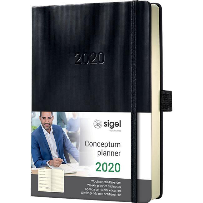 Sigel Wochennotiz-Kalender 2020 Conceptum C2014 Hardcover A5 Kalender schwarz - Bild 1