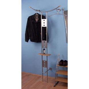 Metall Wandgarderobe Garderobe Ablage Flur Kleiderständer Flurgarderobe silber - Bild 1