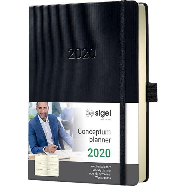 Sigel Wochenkalender 2020 Conceptum C2012 Hardcover A5 Kalender schwarz Buch - Bild 1