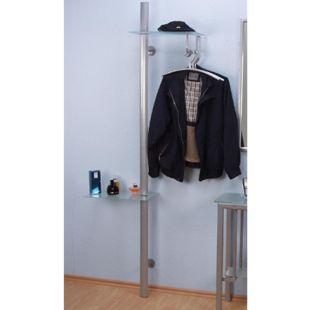Wandgarderobe Metall Glas Ablage Flur Garderobe Kleiderständer Kleiderstange - Bild 1