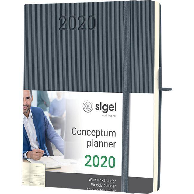 Sigel Wochenkalender 2020 Conceptum C2066 Hardcover A5 Notiz Kalender dunkelgrau - Bild 1