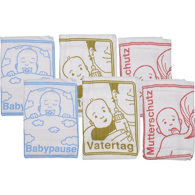 6x Baby Spucktuch Set Baumwolle Mullwindel Stoffwindel Mulltücher Windel bunt - Bild 1