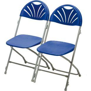 2x Klappstuhl Gartenstuhl Bistro Stuhl Stühle Bankett Stuhlset Camping blau - Bild 1