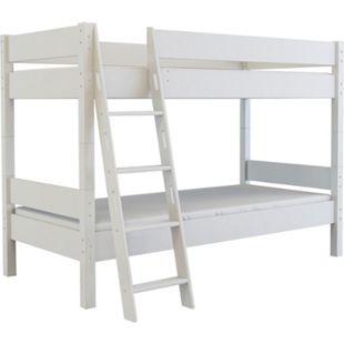 Etagenbett 90x200 + Lattenrost Massivholz Buche Hochbett Kinderzimmer Bett weiss - Bild 1