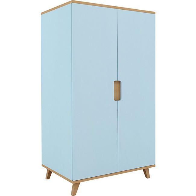 2trg. Kinderzimmer Kleiderschrank Drehtürenschrank Holz Schrank blau Buche - Bild 1