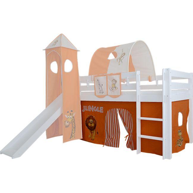 3tlg. Vorhang Set Höhle Dschungel für Hochbett Spielbett Vorhänge Kinderbett - Bild 1