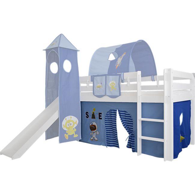 3tlg Vorhang Set Höhle Weltraum Space f. Hochbett Spielbett Vorhänge Kinderbett - Bild 1