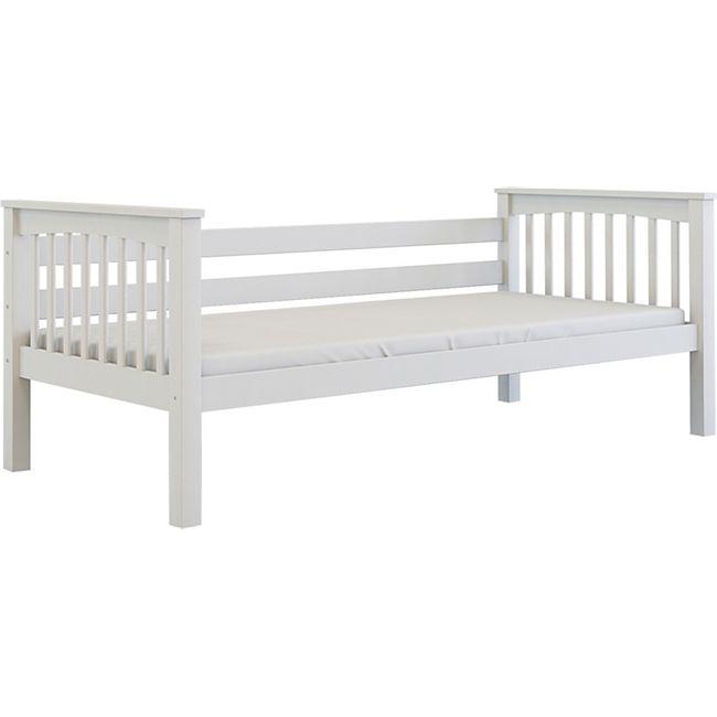 Kinderbett 90x200 + Lattenrost Buche massiv Einzelbett Kinderzimmer Bett weiß - Bild 1