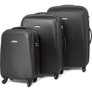 MasterGear Kofferset TSA Koffer Set Trolley Reisekoffer Hartschale schwarz lila - Bild 1