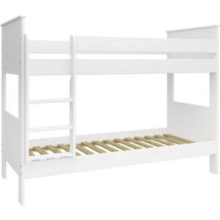 Etagenbett Oscar + Lattenrost 90x200 Hochbett Kinderbett Bett Spielbett weiss - Bild 1