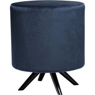 Design Velours Fußhocker Blur blau Hocker Polsterhocker Sitzhocker Schemel - Bild 1