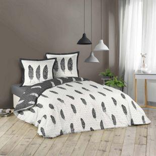 3tlg. Wende Bettwäsche 240x220 Federn Baumwolle Bettdecke Übergröße Bettgarnitur - Bild 1