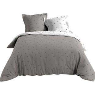 3tlg. Wende Bettwäsche 240x220 Baumwolle Bettdecke Übergröße Bettgarnitur grau - Bild 1