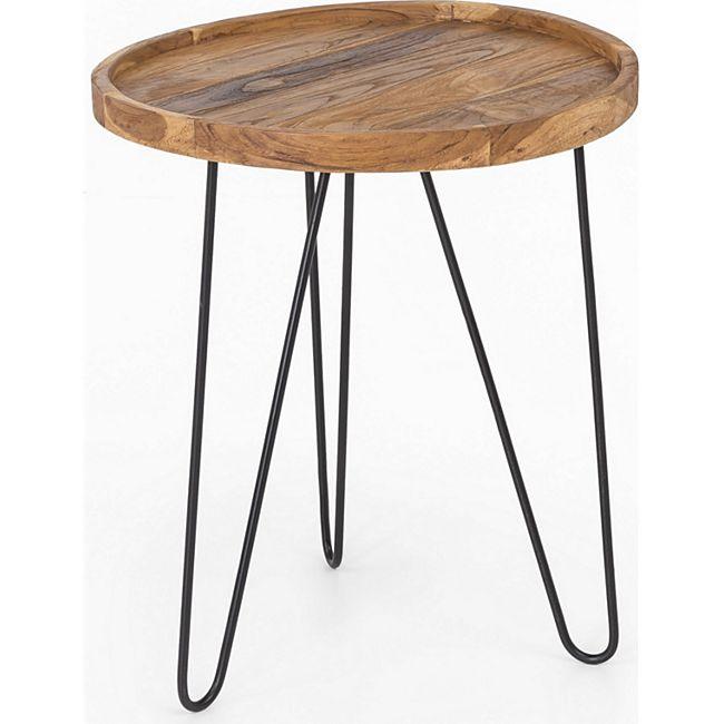 Design Teak Couchtisch 50cm Teakholz Tisch Wohnzimmertisch Unikat Holztisch rund - Bild 1
