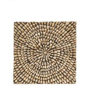 Teak Wandbild 70x70cm Holz Bild Teakholz Relief Wanddeko Massivholz Handarbeit - Bild 1