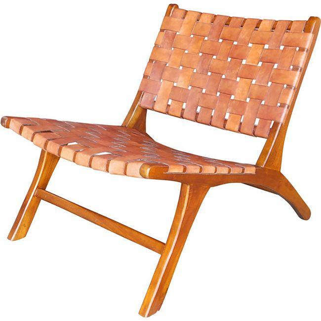 Design Lounge Sessel Teak Holz Leder Stuhl Clubsessel Relaxsessel Unikat braun - Bild 1
