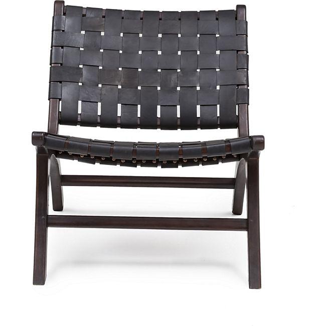 Design Lounge Sessel Teak Holz Leder Stuhl Clubsessel Relaxsessel Unikat schwarz - Bild 1