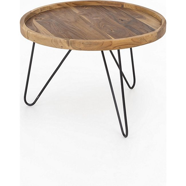 Design Teak Couchtisch 65cm Teakholz Tisch Wohnzimmertisch Unikat Holztisch rund - Bild 1