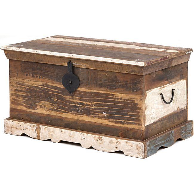 Truhe massiv Holz recycelt Aufbewahrungstruhe Holztruhe Aufbewahrung Deko - Bild 1