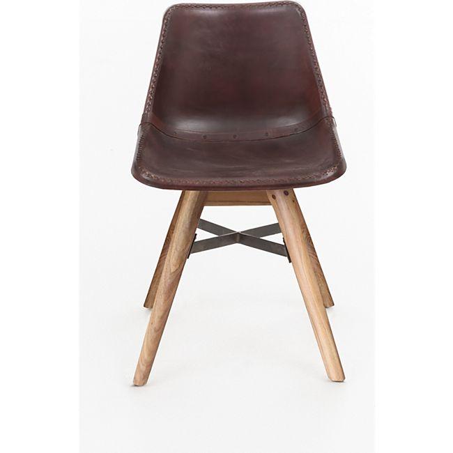 Design Esszimmerstuhl Leder Akazie massiv Polsterstuhl Küchenstuhl Stuhl braun - Bild 1