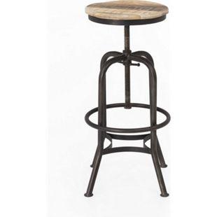 Design Hocker Industrial Look Barhocker Sitzhocker Metall Holz Barstuhl - Bild 1