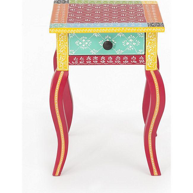 Beistelltisch India Akazie massiv Handarbeit Tisch Nachttisch Nachtschrank bunt - Bild 1