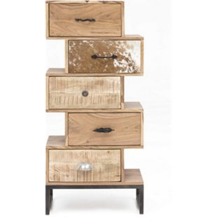 Design Highboard Akazie Fell Sideboard Kommode massiv Holz Schubladenschrank - Bild 1