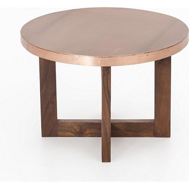 Couchtisch Massivholz Akazie 50cm Wohnzimmertisch Holz Tisch India Beistelltisch - Bild 1