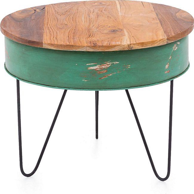 Design Teak Couchtisch 60cm Teakholz Tisch Wohnzimmertisch Unikat Holztisch rund - Bild 1
