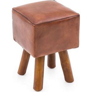 Lederhocker Polsterhocker Teak Holz Hocker Sitzhocker Sitzwürfel Würfelhocker - Bild 1