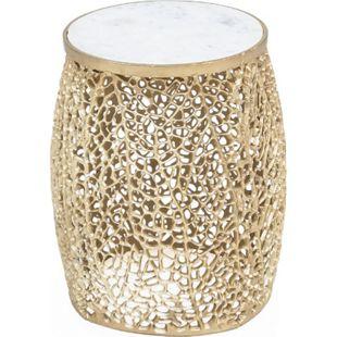 Metallhocker Draht Optik Marmor Hocker Sitzhocker Alu Eisen gold Sitzbank - Bild 1
