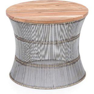 Design Hocker Korb Optik Holzhocker Sitzhocker Beistelltisch Couchtisch braun - Bild 1
