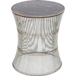 Design Metallhocker Draht Optik Marmor Hocker Sitzhocker Metall Eisen Tisch - Bild 1