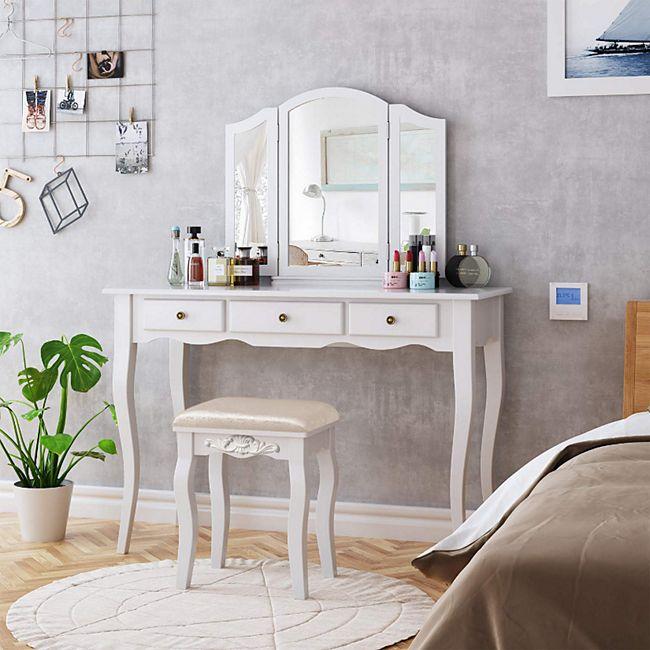 Schminktisch Frisiertisch Vintage Mit Hocker Spiegel Make Up Tisch