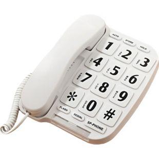 Senioren Telefon extra große Tasten Seniorentelefon Festnetz schnurgebunden weiß - Bild 1