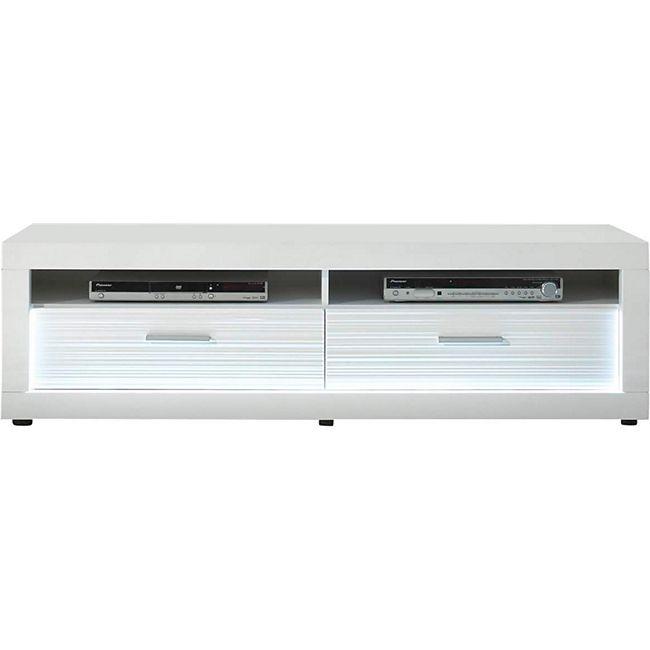 TV Tisch Stream Kommode Sideboard Lowboard Fernsehschrank weiß hochglanz - Bild 1