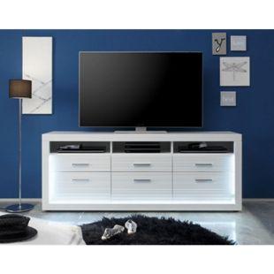 TV Tisch Stream Kommode Sideboard Highboard Fernsehschrank weiß hochglanz - Bild 1