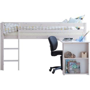 Hochbett Flexa 90x200cm + Schreibtisch Kinderbett Jugendbett Etagenbett  weiß - Bild 1