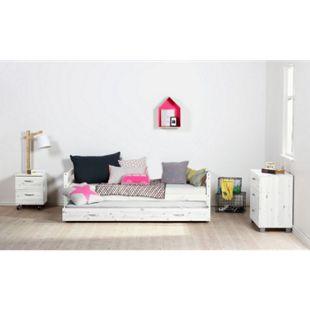 Schubladenbett Flexa 90x200 cm Kiefer weiß Jugendbett Einzelbett Funktionsbett - Bild 1