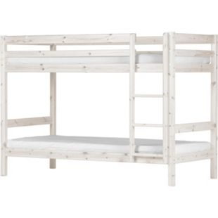 Kiefer Hochbett Flexa 90x200 cm + Leiter Kinderbett Jugendbett Etagenbett weiß - Bild 1