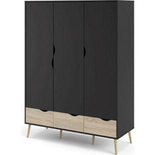 Kleiderschrank Napoli Eiche Struktur Dekor mat schwarz Schlafzimmer Schrank - Bild 1