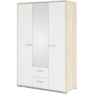 3trg Kleiderschrank Fox Schlafzimmer Schrank Eiche Struktur Dekor weiß hochglanz - Bild 1