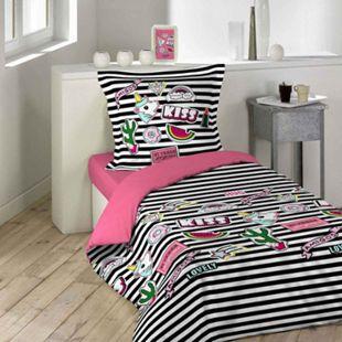 Mädchen Bettwäsche 140x200 Baumwolle Bettdecke Bettgarnitur Einhorn Teenager - Bild 1