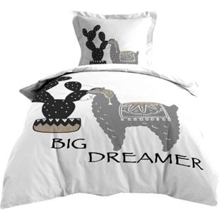 2tlg. Kinder Bettwäsche 140x200 Baumwolle Bettdecke Bettgarnitur Alpaka Teenager - Bild 1