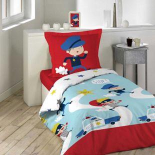 Jungen Wende Bettwäsche Polizei 140x200 Baumwolle Bettdecke Bettgarnitur bunt - Bild 1