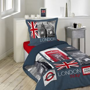2tlg. Wende Bettwäsche 140x200 London Baumwolle Bett Decke Bezug Bettgarnitur - Bild 1
