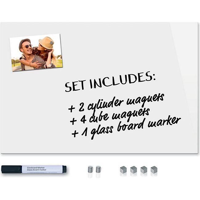 Be!Board SY487 Glas-Magnettafel reinweiß 60x40cm + 6 Magnete + 2 schwarze Stifte - Bild 1